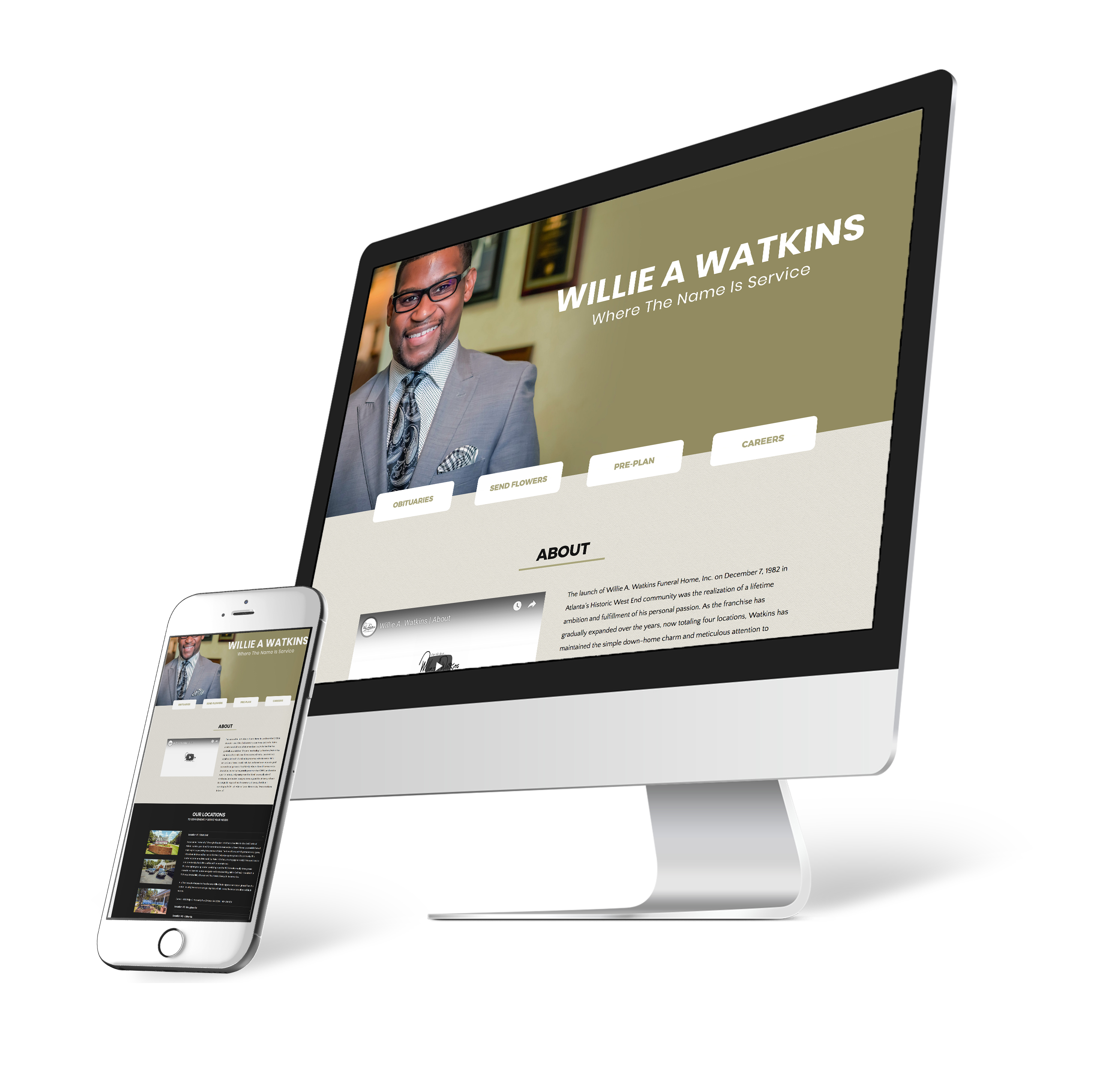 Willie A Watkins funeral home website design